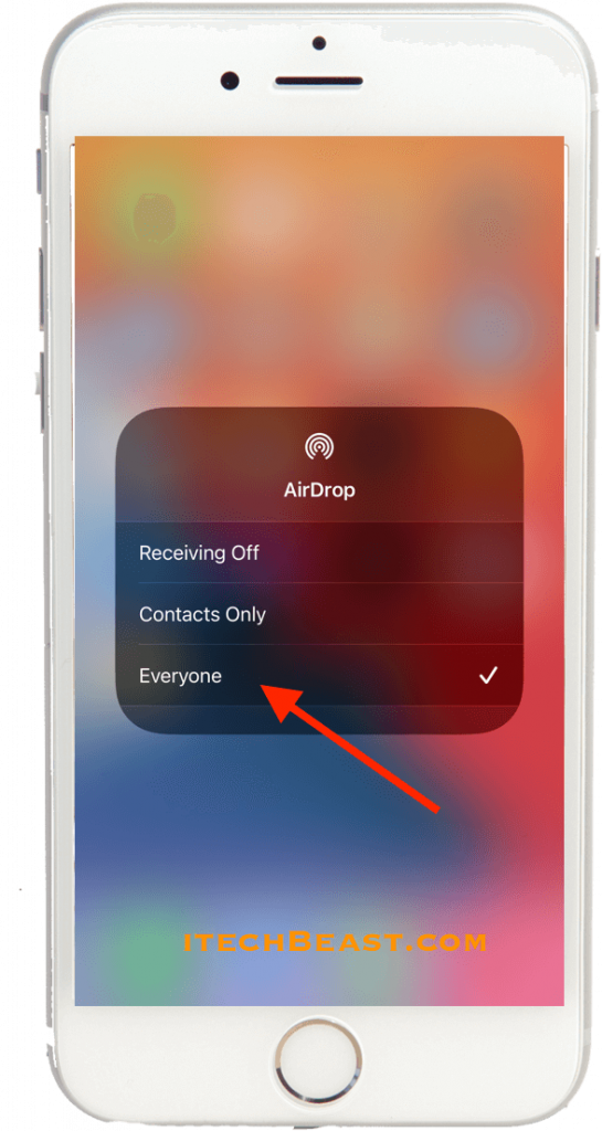 AirDrop Options in Control Center