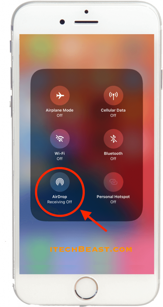 AirDrop in Control Center
