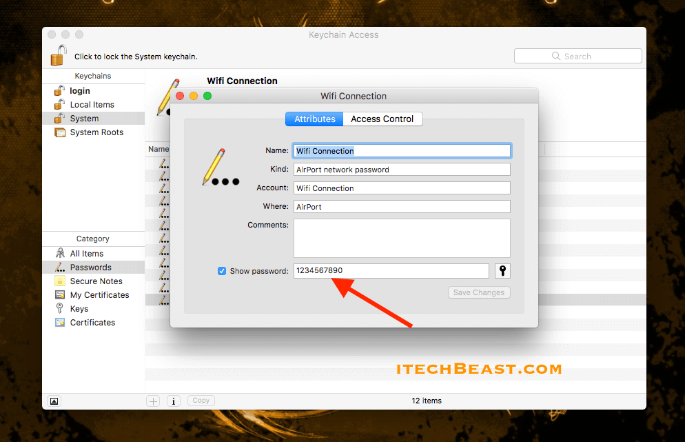 how to see wifi password on mac