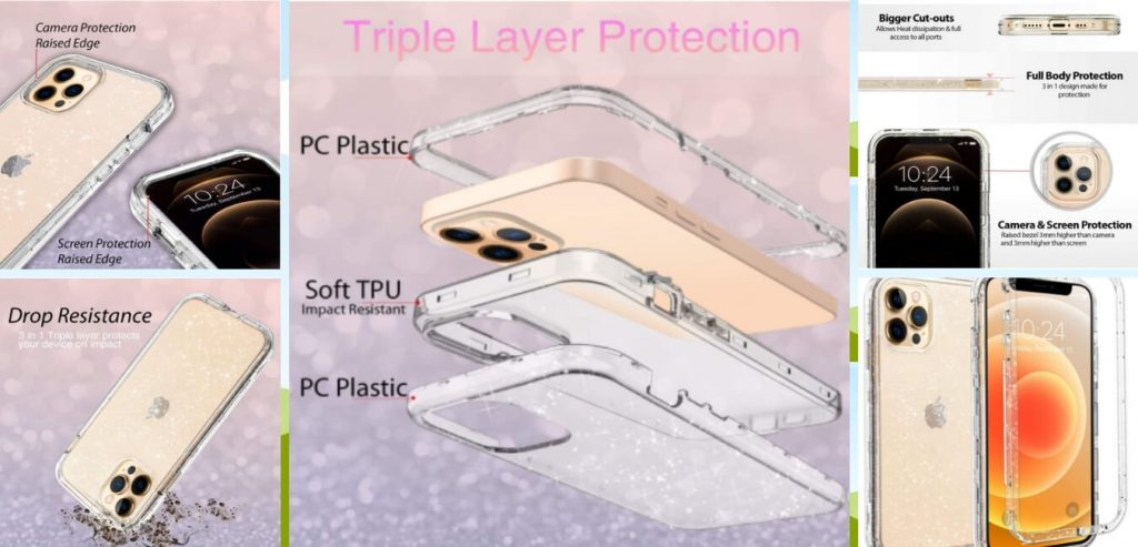 Coolwee Crystal Glitter iPhone 12 Pro Max Protective Case