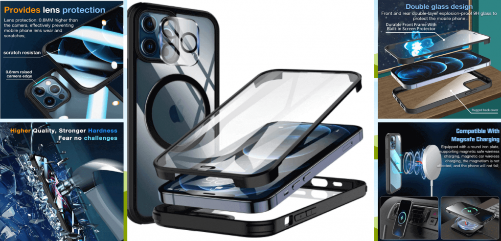 iPhone 12 Pro Max Case with Camera Lens Protector